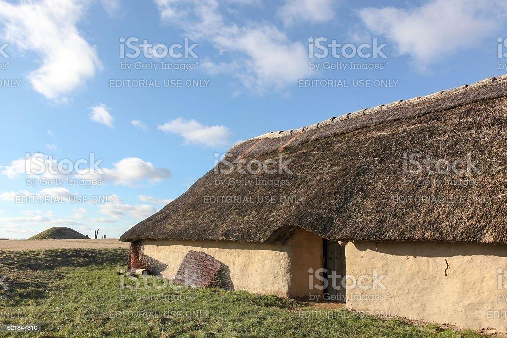 House and tumulus from Bronze age period, Borum Eshoj, Denmark stock photo
