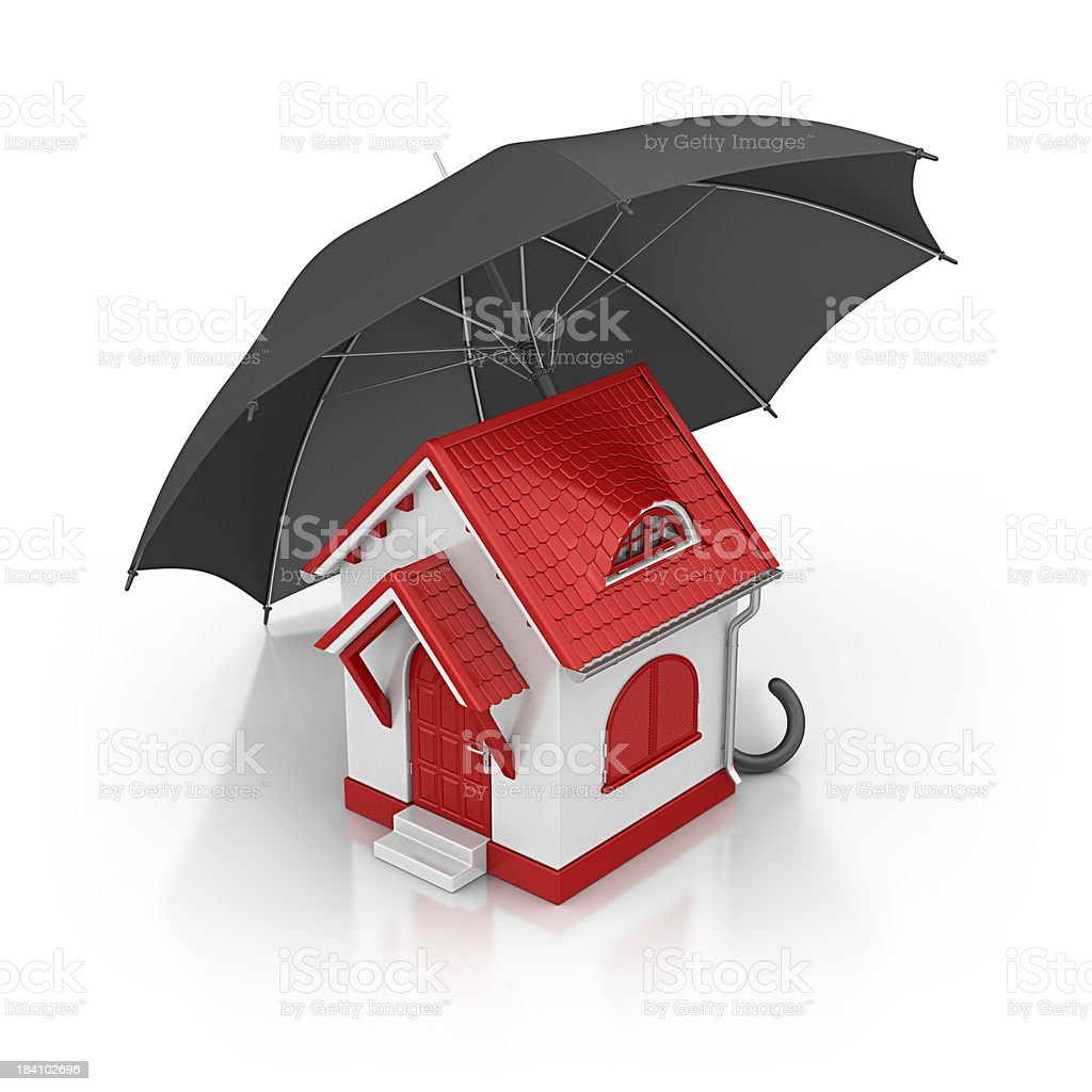 house and umbrella royalty-free stock photo