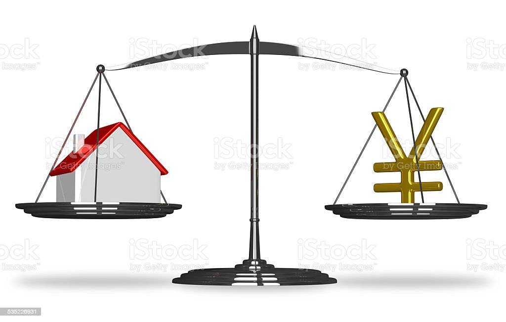 House and yuan sign on scales stock photo
