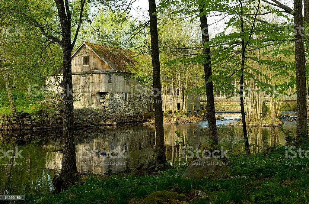 House at a Swedish river royalty-free stock photo