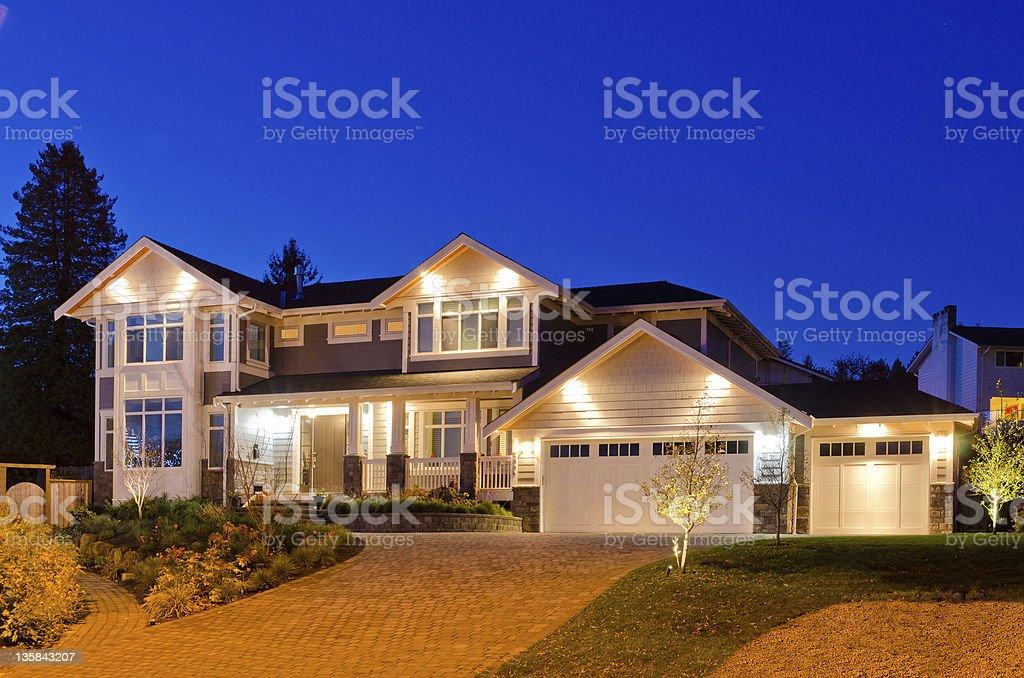 House at dusk. stock photo