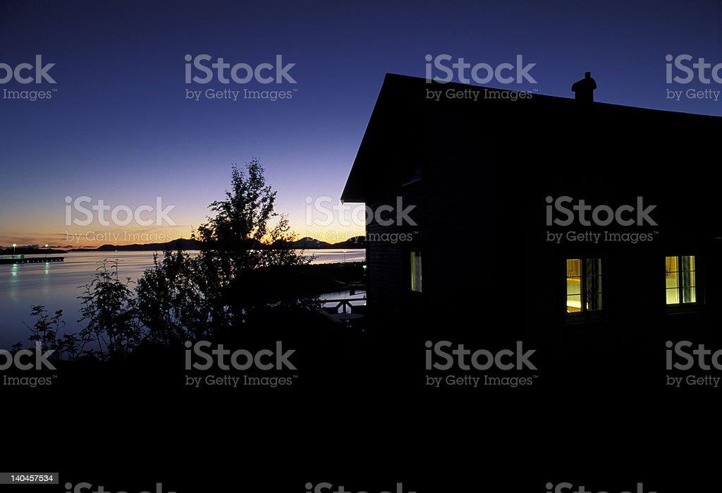 house at dusk royalty-free stock photo