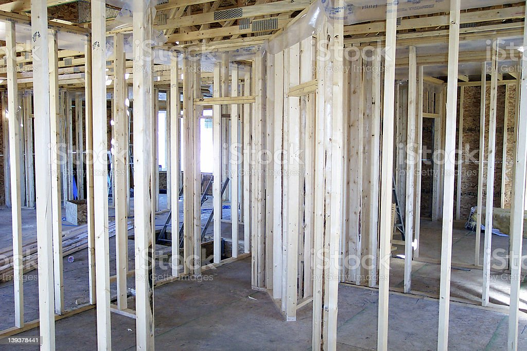 House at framing stage. royalty-free stock photo