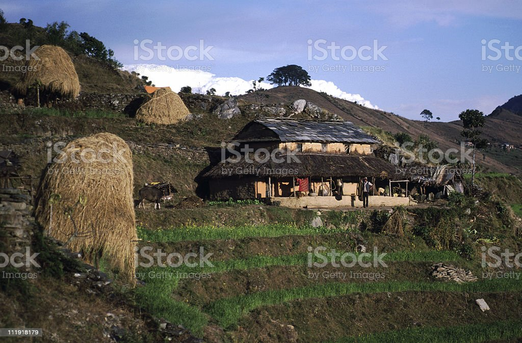 House at Sarangkot, Nepal stock photo