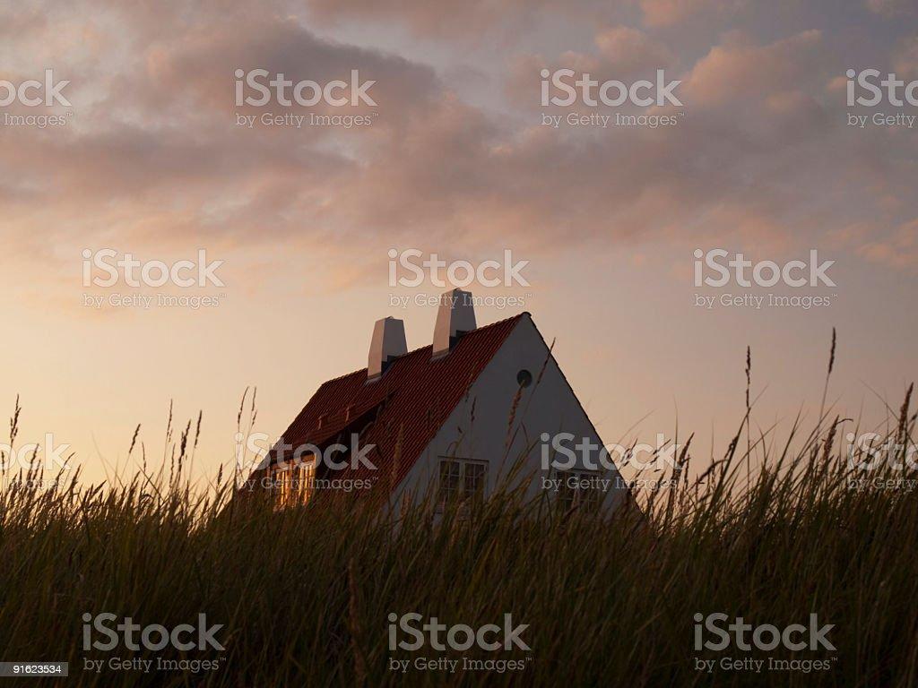 House at sunset, Loenstrup stock photo