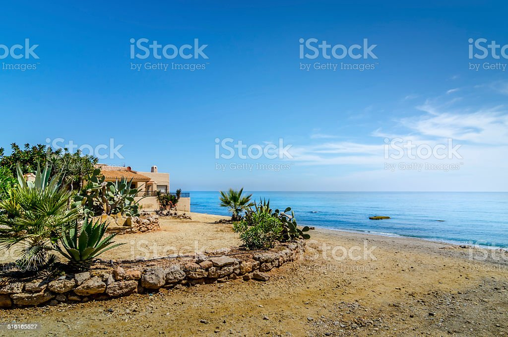 House at the Mojacar's beach stock photo