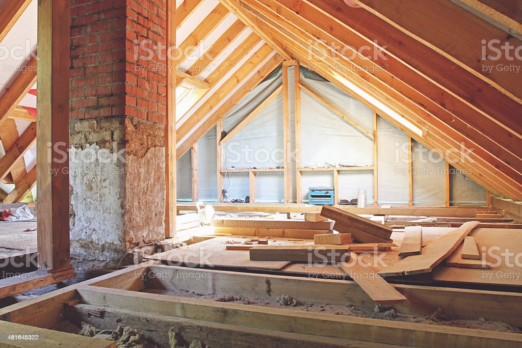 house attic under construction stock photo