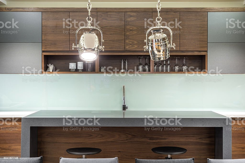 House bar with stools stock photo