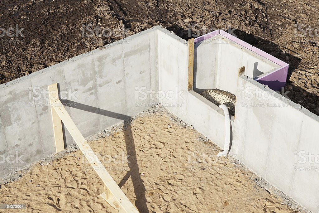 House Basement Wall Foundation Detail Aerial stock photo