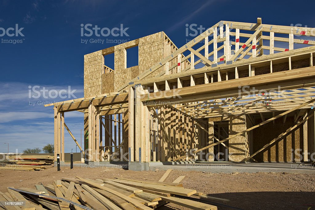 A house being constructed with wood stock photo