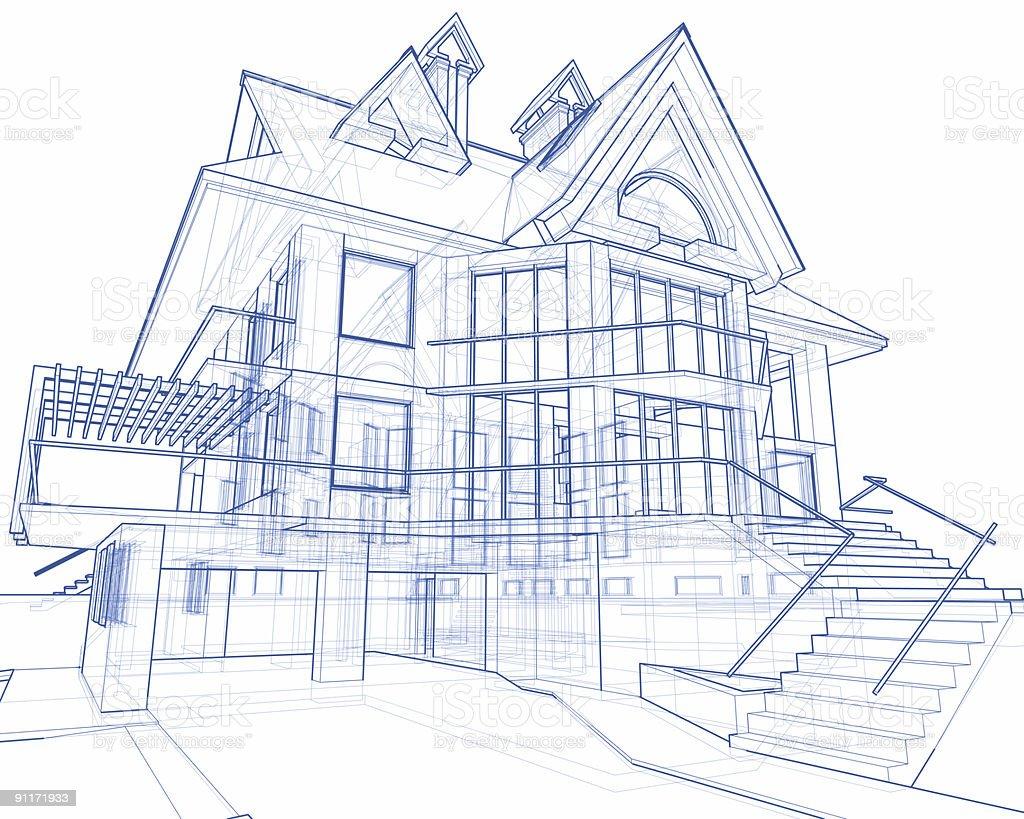 house blueprint: 3d technical concept draw stock photo
