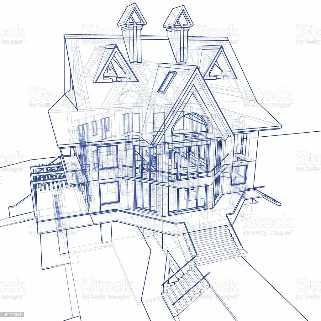 house blueprint 3d technical concept draw stock photo 91171961