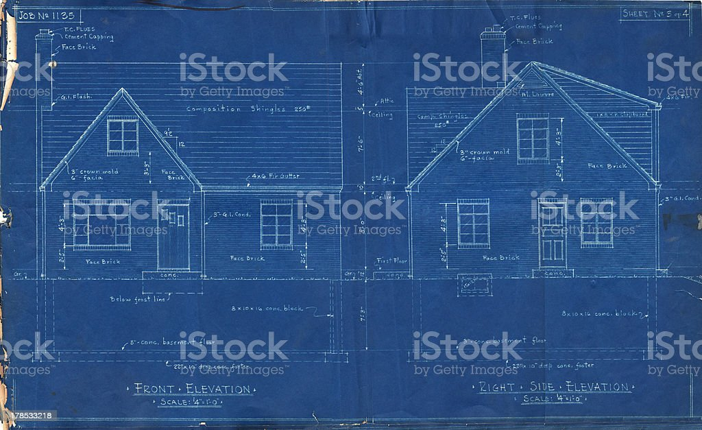 House Blueprints Front Side royalty-free stock photo