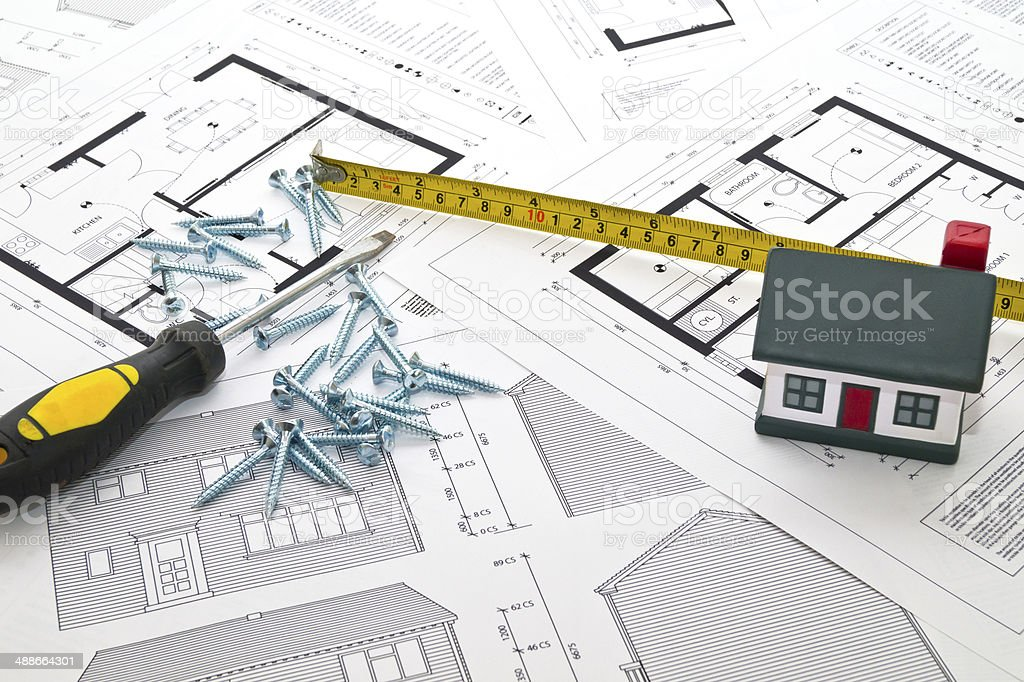 House, Blueprints & Tools stock photo