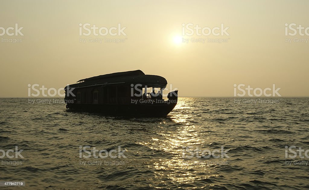 House boat in the Kerala (India) Backwaters. royalty-free stock photo