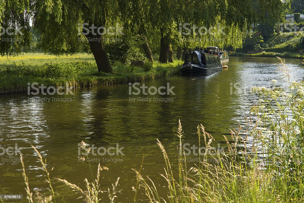 House boat on the river Wey. stock photo