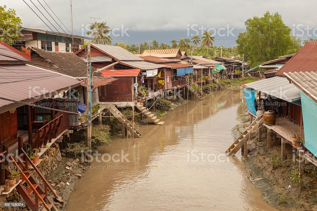 house boat river in Thailand stock photo
