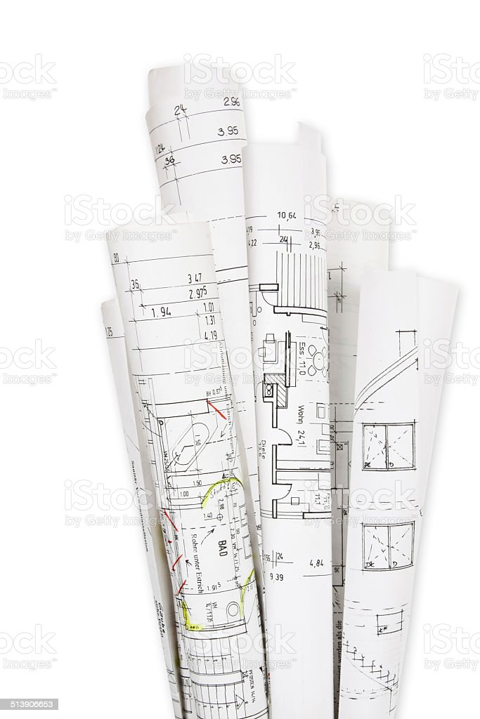 House building, building plans stock photo