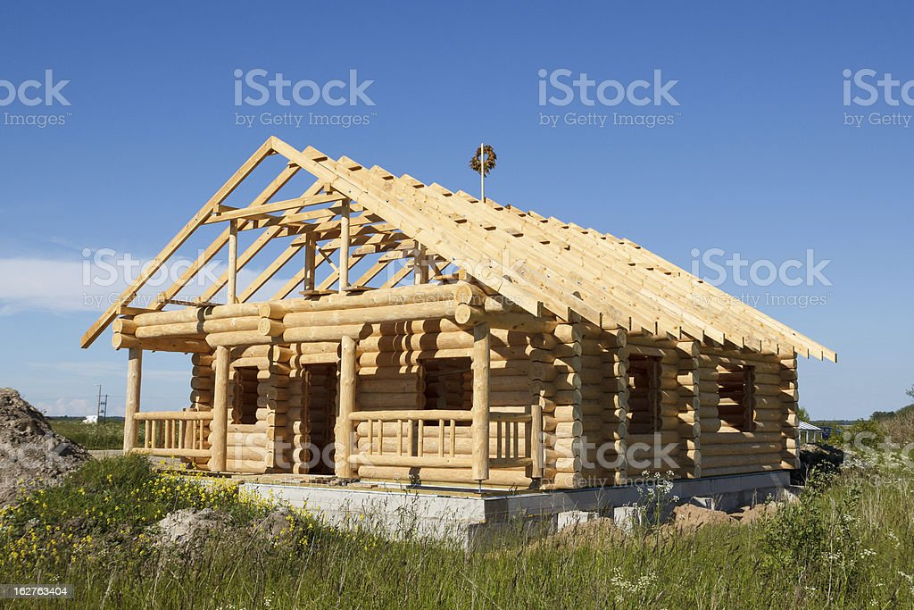 house built from logs royalty-free stock photo