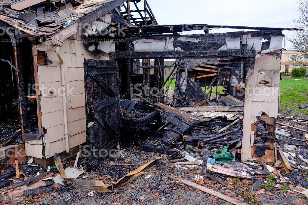 House Burned in Major Fire stock photo