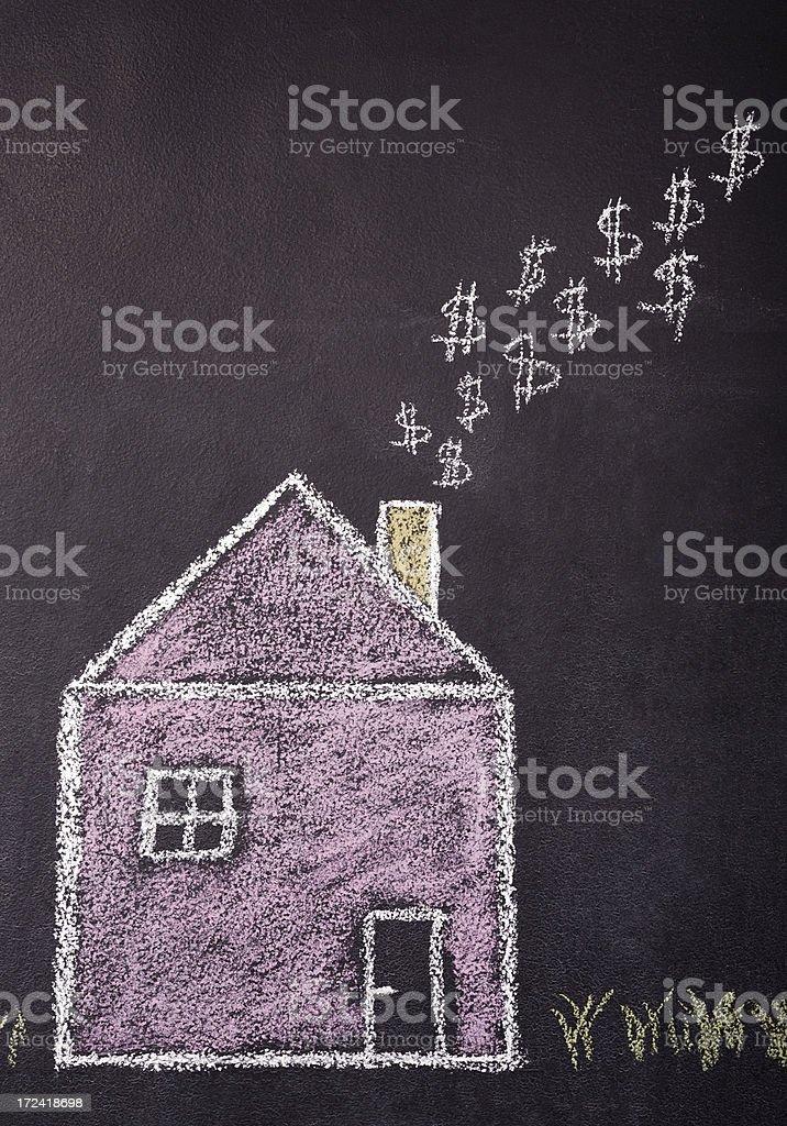 house burning money stock photo