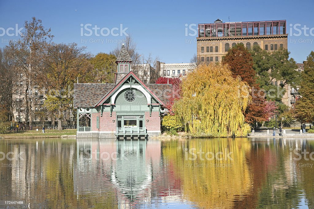 House By Harlem Meer In Autumn royalty-free stock photo