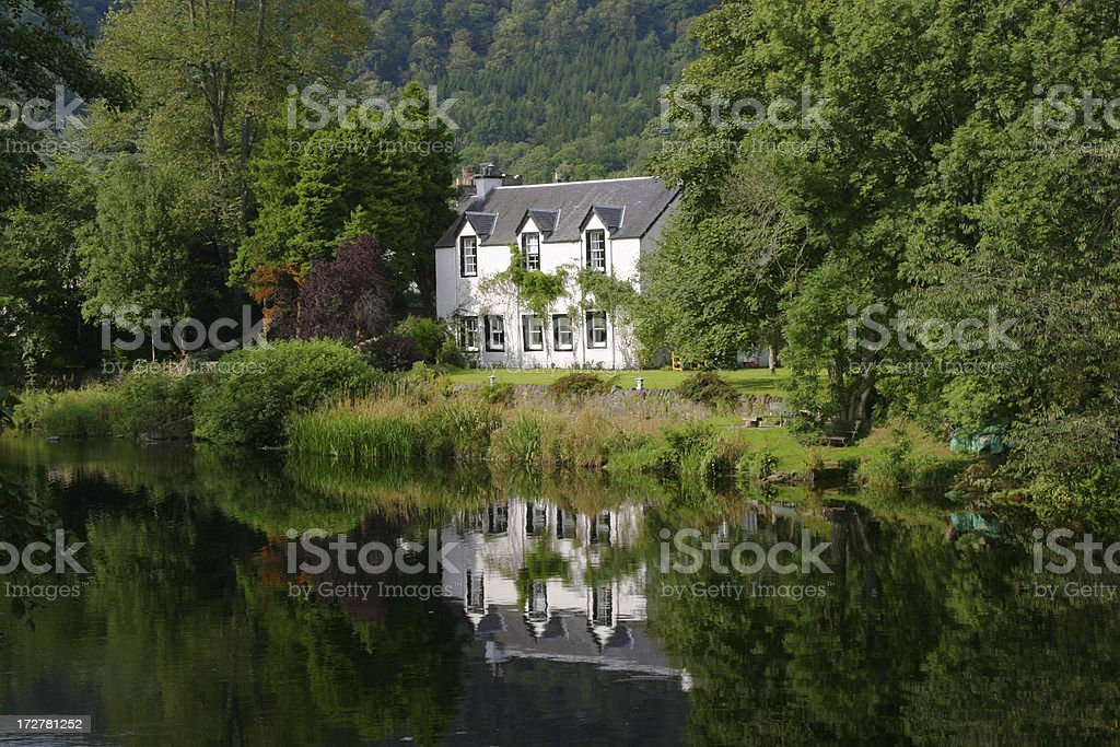 House by River Teith, Callander, The Trossachs, Scotland royalty-free stock photo