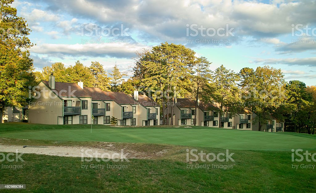 house by the golf court stock photo
