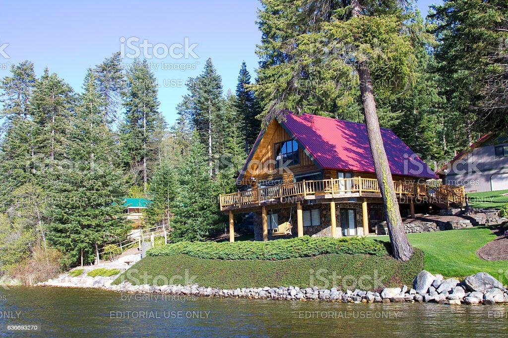House by the lake at Lake Wenatchee National Park, Washington stock photo