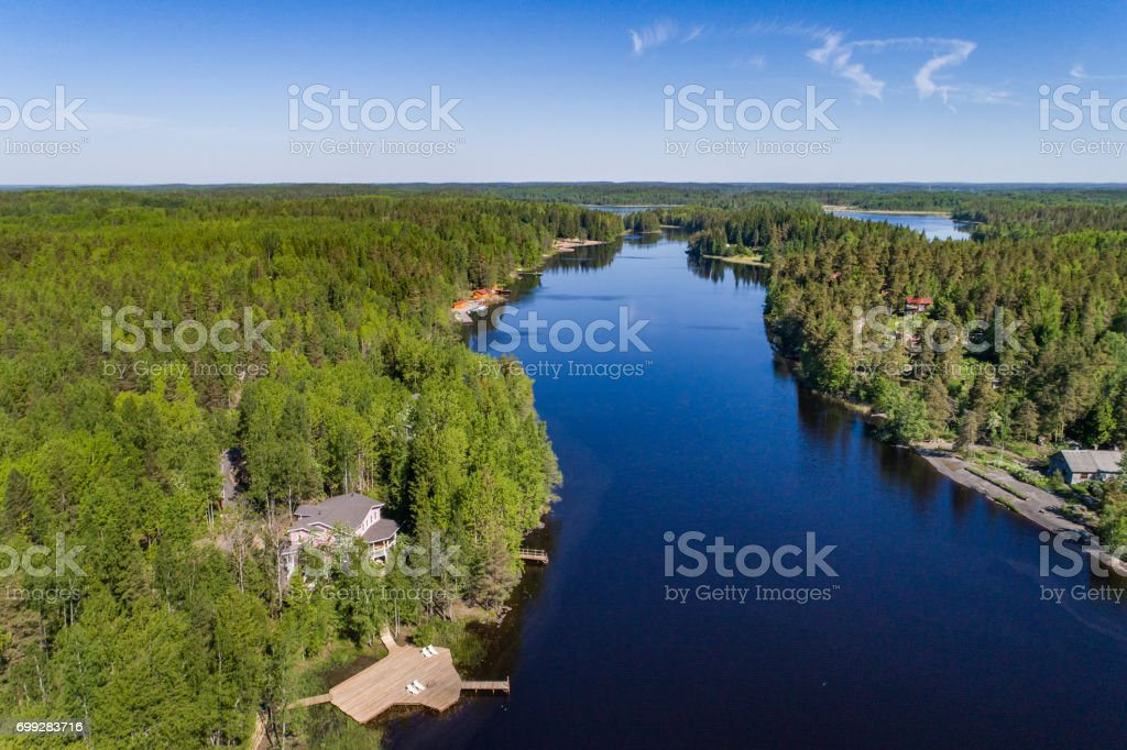 House by the lake, view from the air stock photo