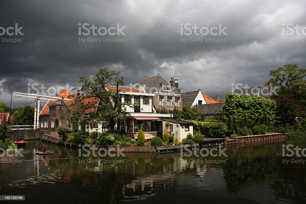 House by the river in Edam, Holland stock photo