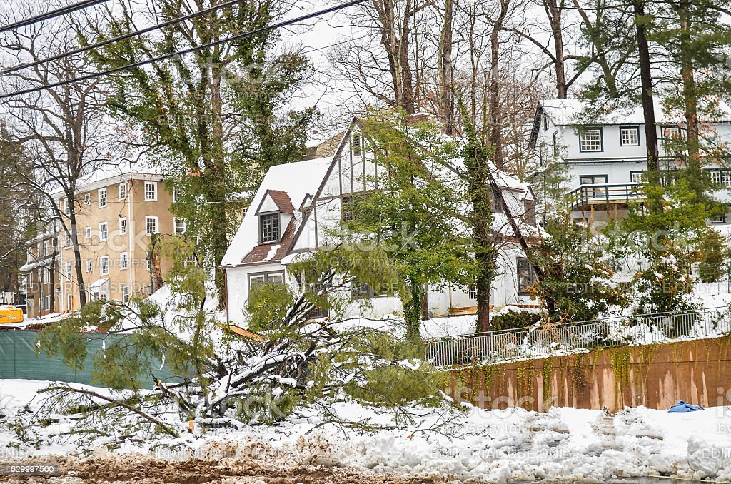 House by University of Virginia campus covered in snow stock photo