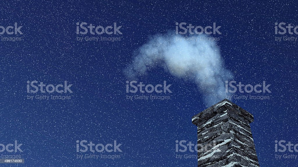House chimney with smoke at snowfall night stock photo