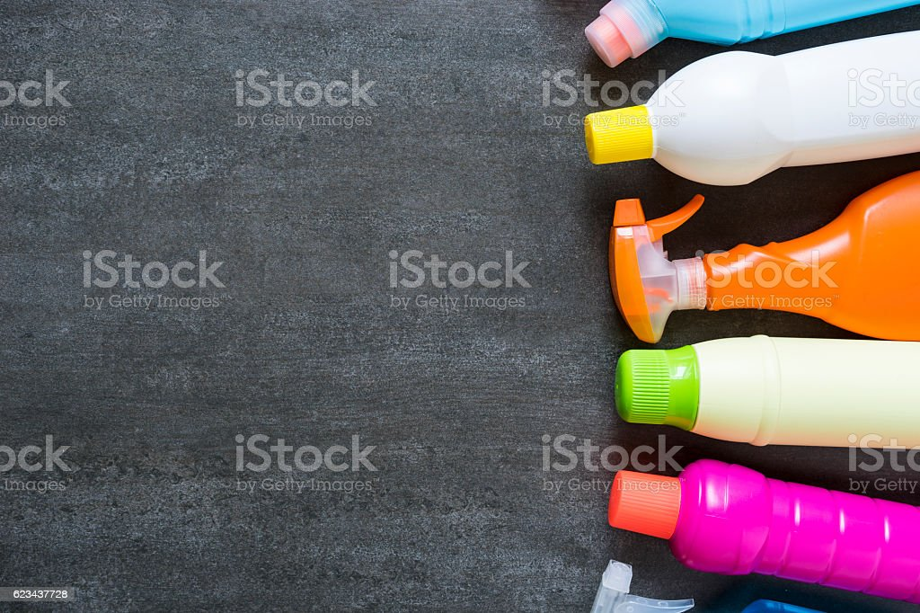 House cleaning product on black background stock photo