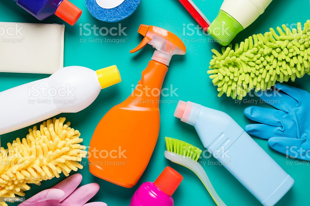 House cleaning product on colorful background stock photo