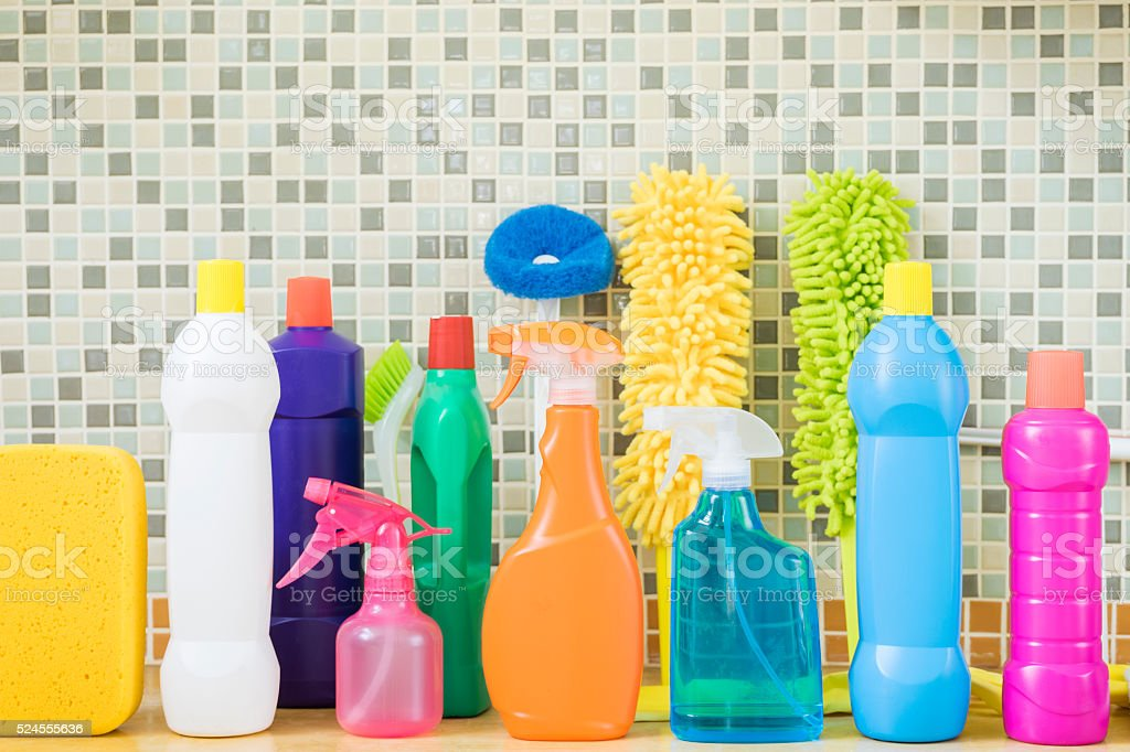 House cleaning product on table stock photo