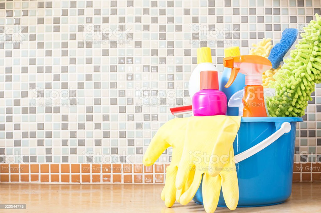 House cleaning product on the table stock photo