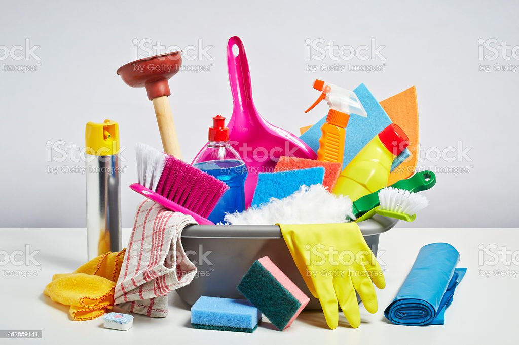 House cleaning products pile on white background stock photo