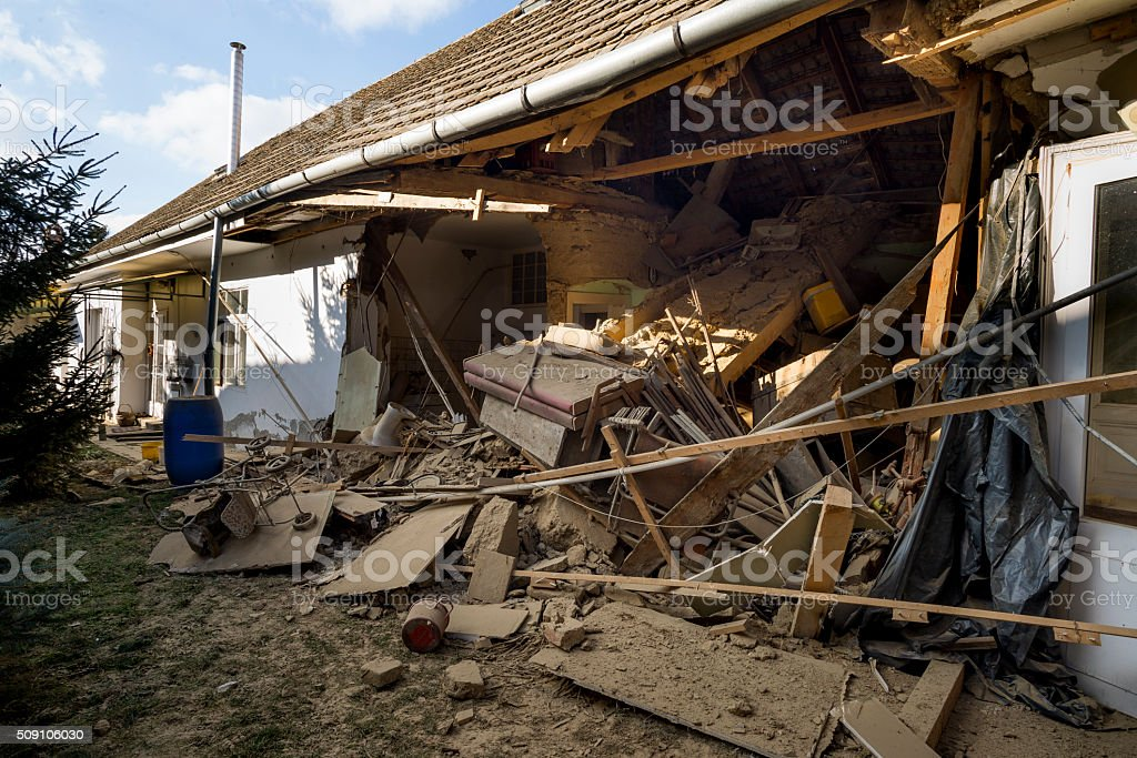 House collapse stock photo