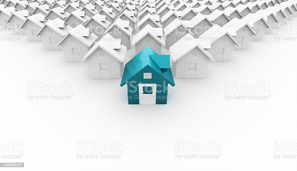 House concept rendered front stock photo