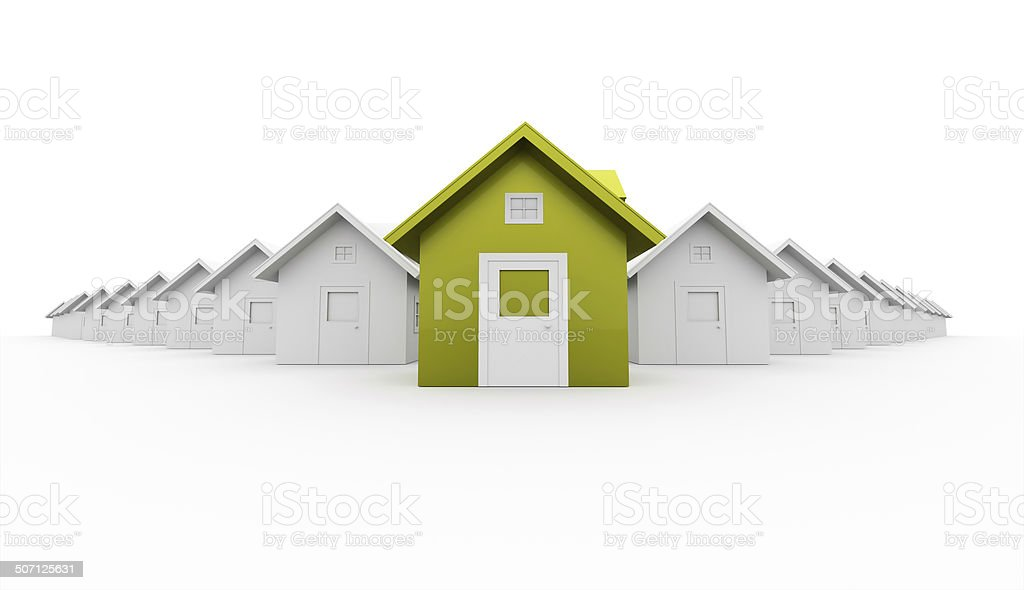 House concept rendered one is green isolated on white stock photo