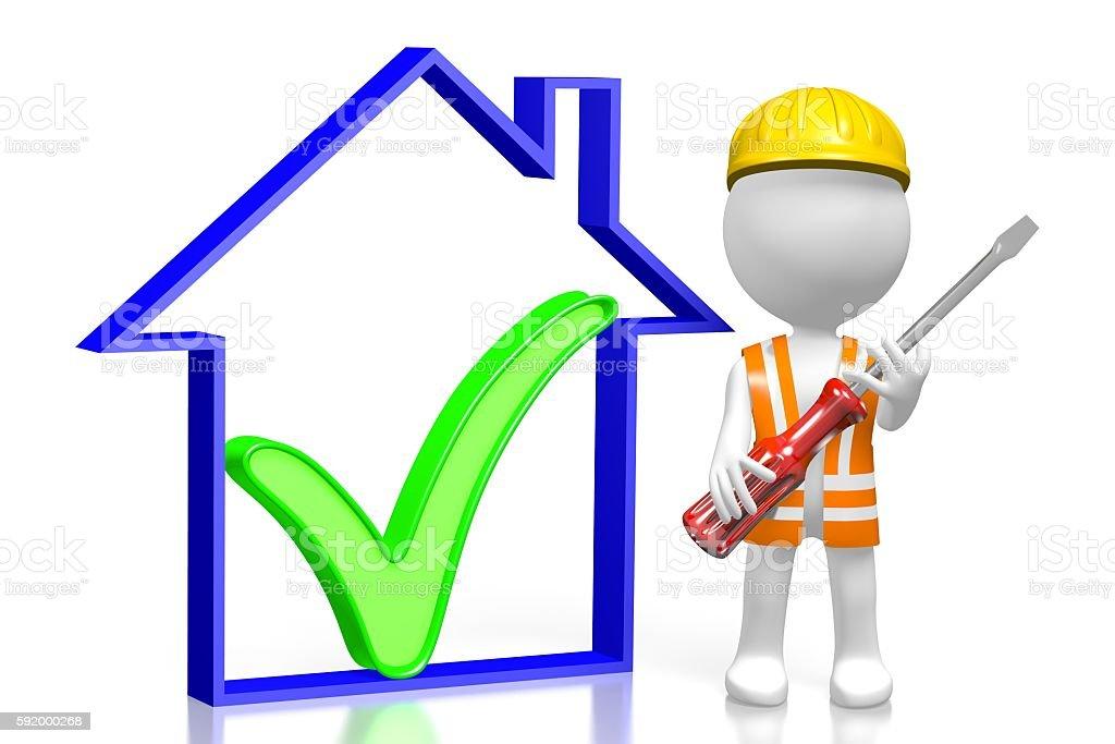 3D house construction concept stock photo