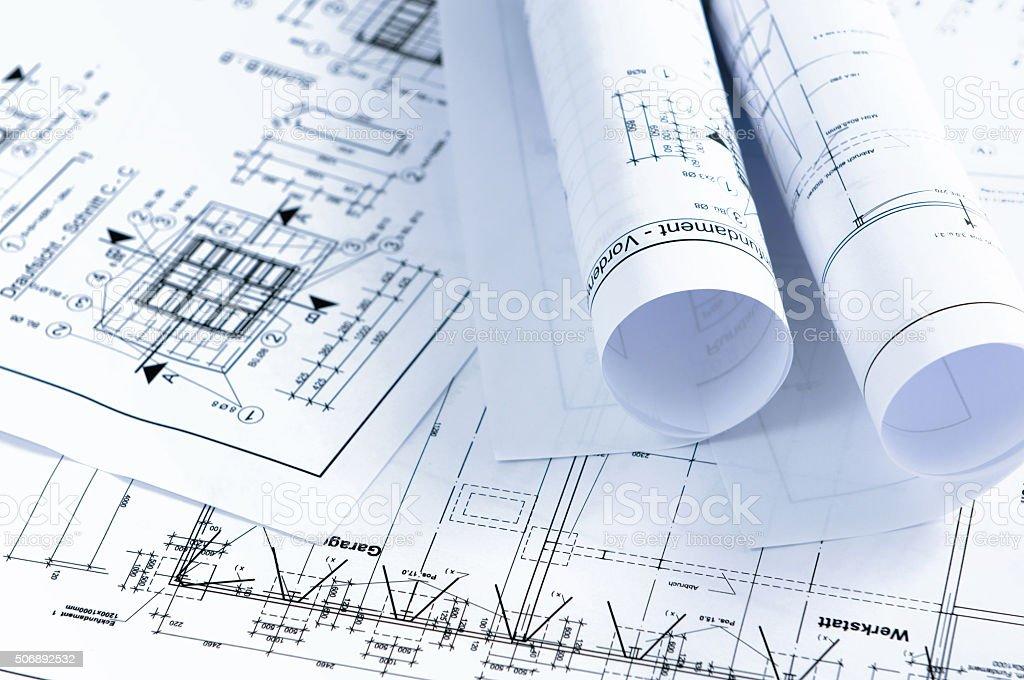 house construction plan blueprint. home improvement stock photo