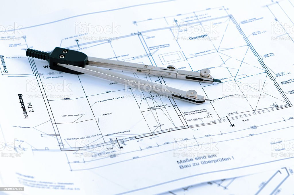 house construction plan blueprint. home improvement with drawing Compass stock photo
