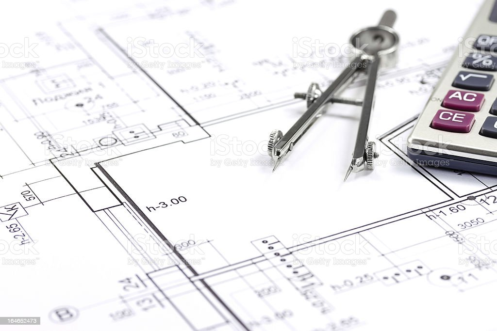 House construction plan royalty-free stock photo