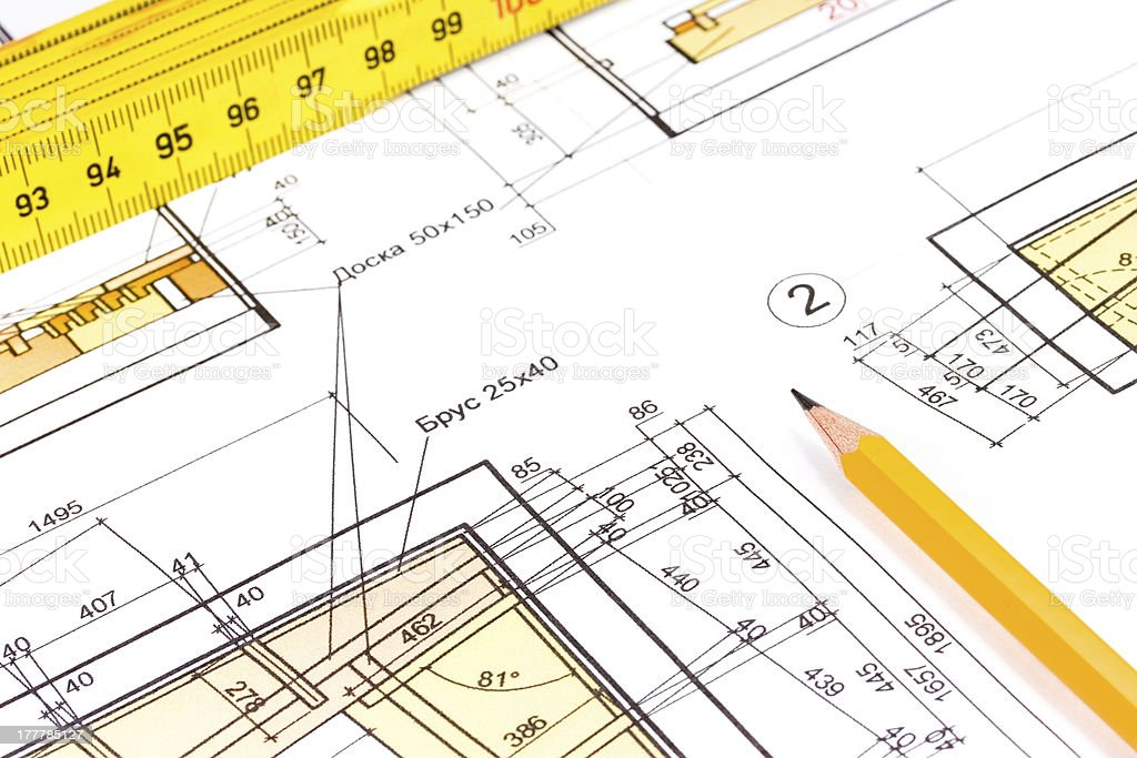 House construction plan stock photo