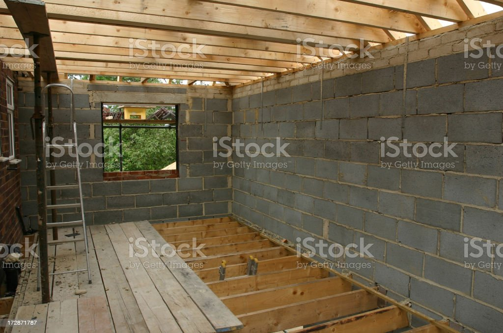 House construction wooden flooring and roof royalty-free stock photo
