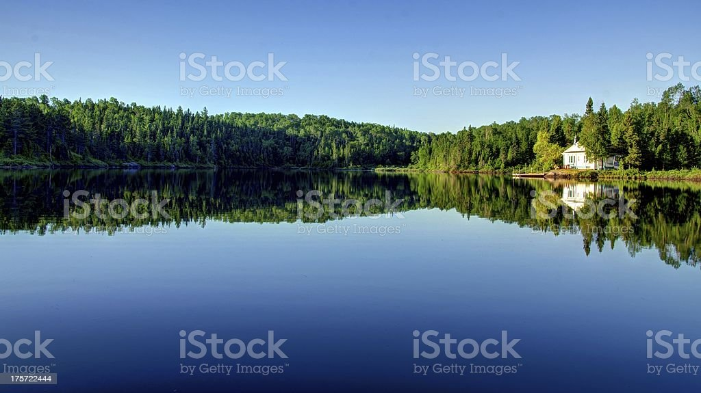 HDR, House, Cottage Lake, Reflections, Water, Forest, Quiet, Rural Scene royalty-free stock photo