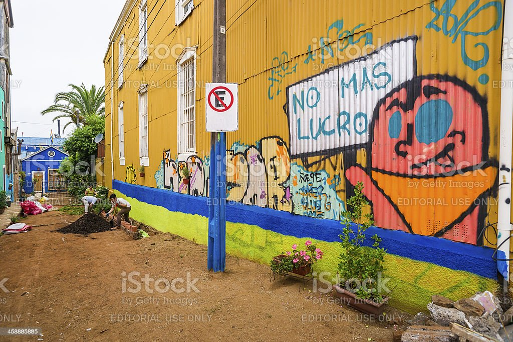 House Covered with Graffiti on Cerro Concepción in Valparaiso, Chile stock photo