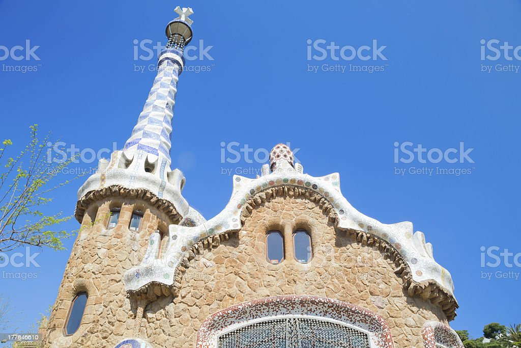 House created by Gaudì in Park Guell Barcelona royalty-free stock photo